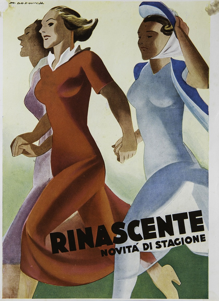 """Il manifesto """"Rinascente – Novità di stagione"""", di Marcello Dudovich (1940) (coll. priv. Rossella Villani)"""