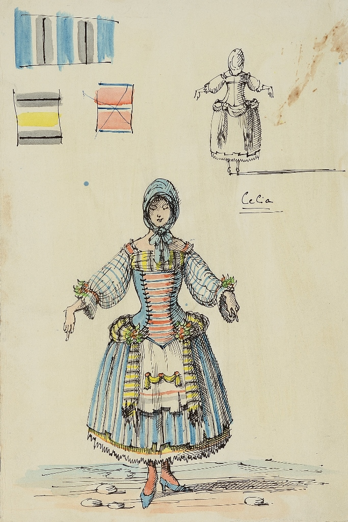 """Domenico Gnoli, bozzetto per il costume di Celia in """"As you like it"""", 1955 (© Archivio Domenico Gnoli, Roma)"""