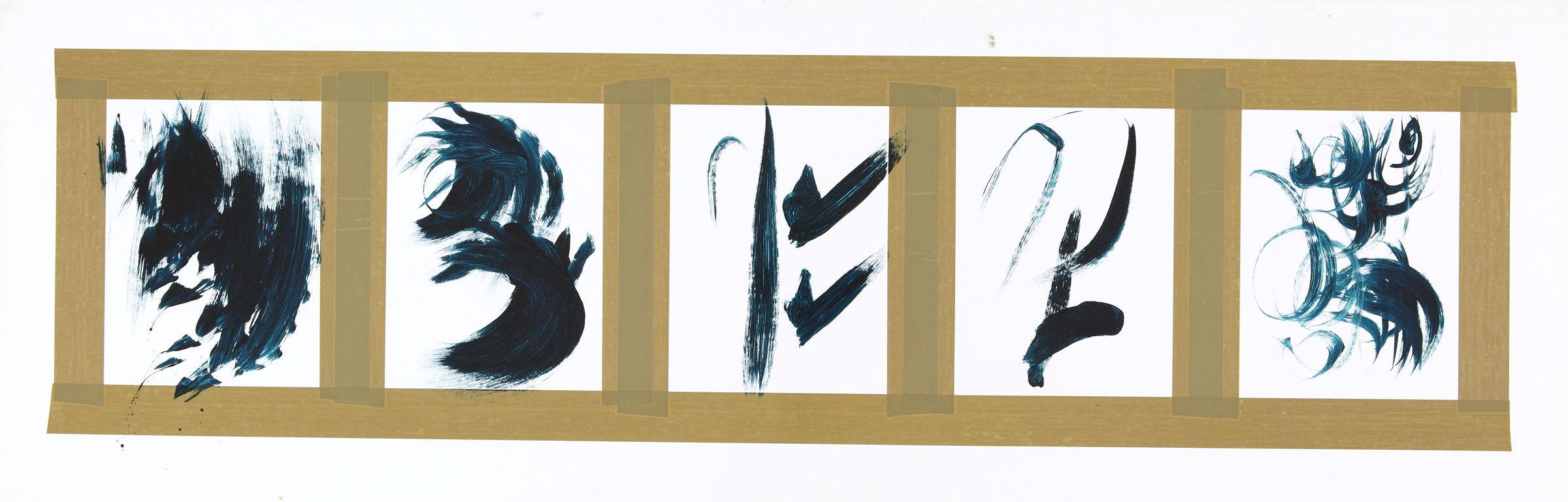 Hans Hartung, Senza titolo, 1975, acrilico su cartone, 39.2 x 119 cm (Fondazione Hartung-Bergman)