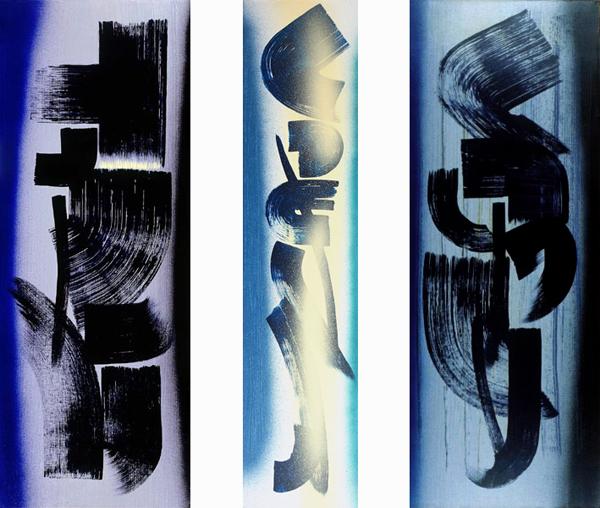 Hans Hartung, T1962-L21, T1962-L22, T1962-L23, 1962, vinilico su tela, 180 x 210 cm (Fondazione Hartung-Bergman)