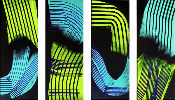 Hans Hartung, T1973-E44 T1973-E45 T1973-E46 T1973-E47, 1973, acrilico su tela, 130 x 230 cm (Fondazione Hartung-Bergman)