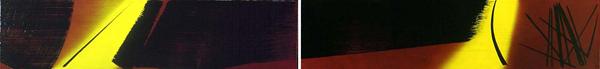 Hans Hartung, T1974-E49 T1974-E50, 1974, acrilico su tela, 71 x 610 cm. (Fondazione Hartung-Bergman)