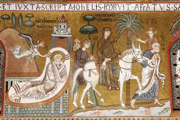 """Il mosaico con la """"Fuga in Egitto"""" nella Cappella Palatina a Palermo, in cui san Giuseppe porta in spalla il bimbo Gesù (Wikicommons)"""