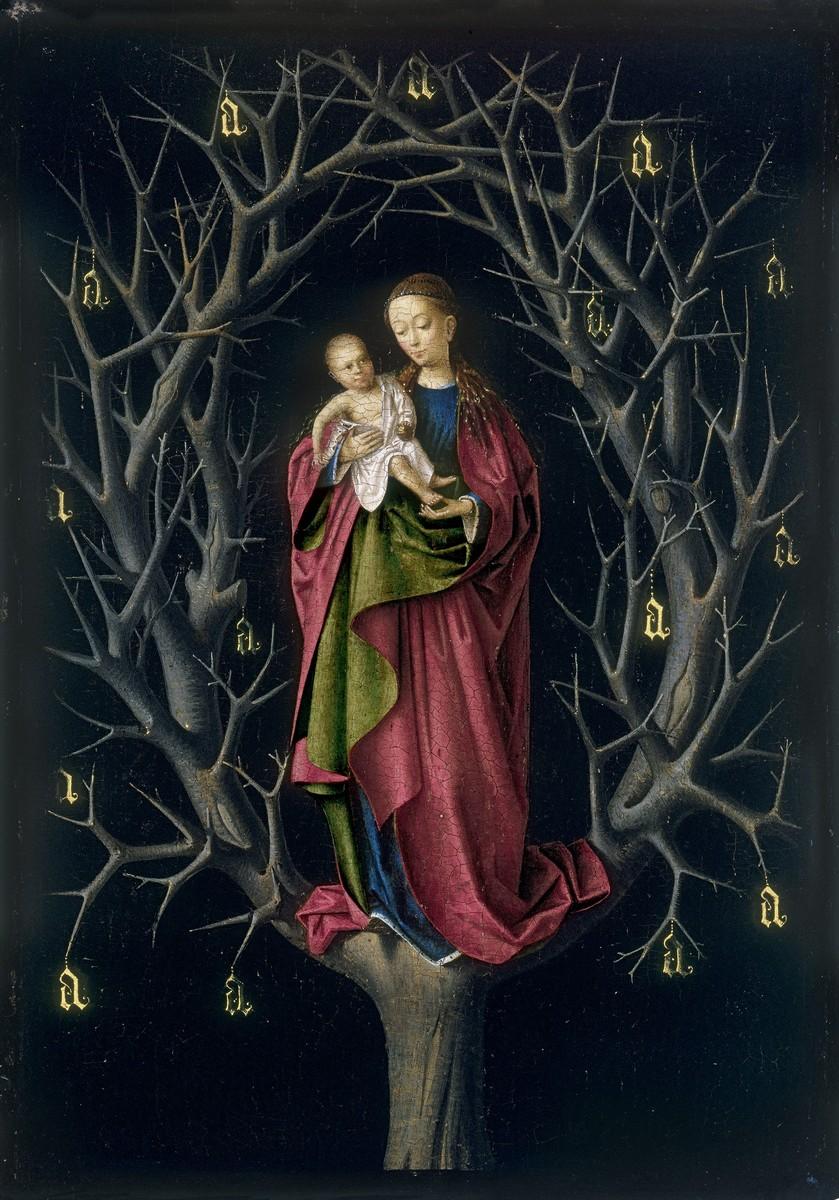 Petrus Christus, Madonna dell'albero secco, pittura a olio su tavola di quercia, 14,7 x 12,4 cm. Museo Thyssen-Bornemisza, Madrid