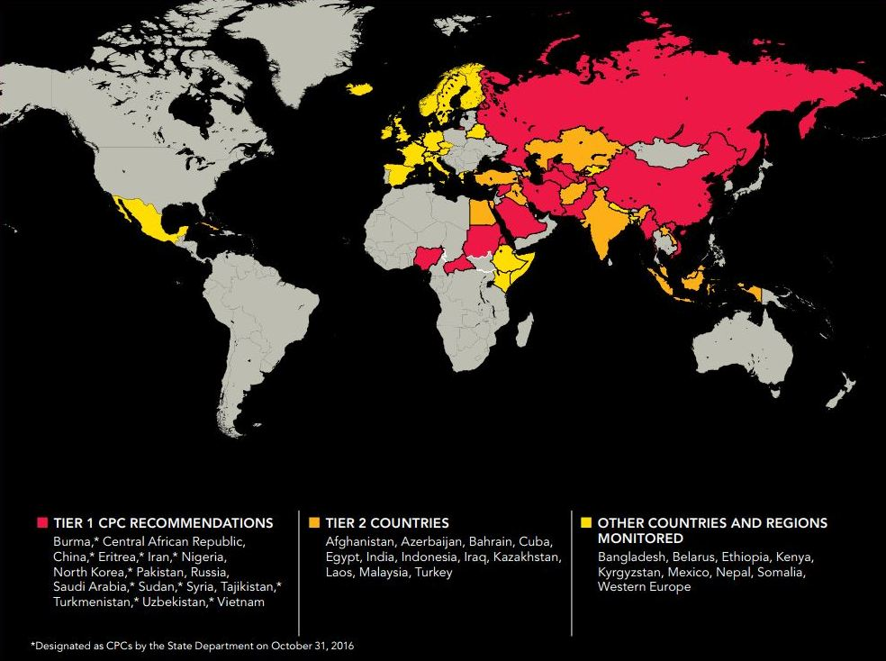 La mappa è contenuta nel rapporto annuale prodotto dalla Commissione per la libertà religiosa del Dipartimento di Stato americano (USCIRF)