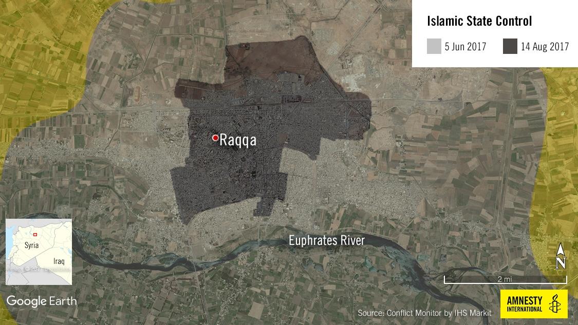 La mappa mostra il territorio perso dal Daesh dall'inizio della battaglia di Raqqa al 14 agosto (Amnesty International)