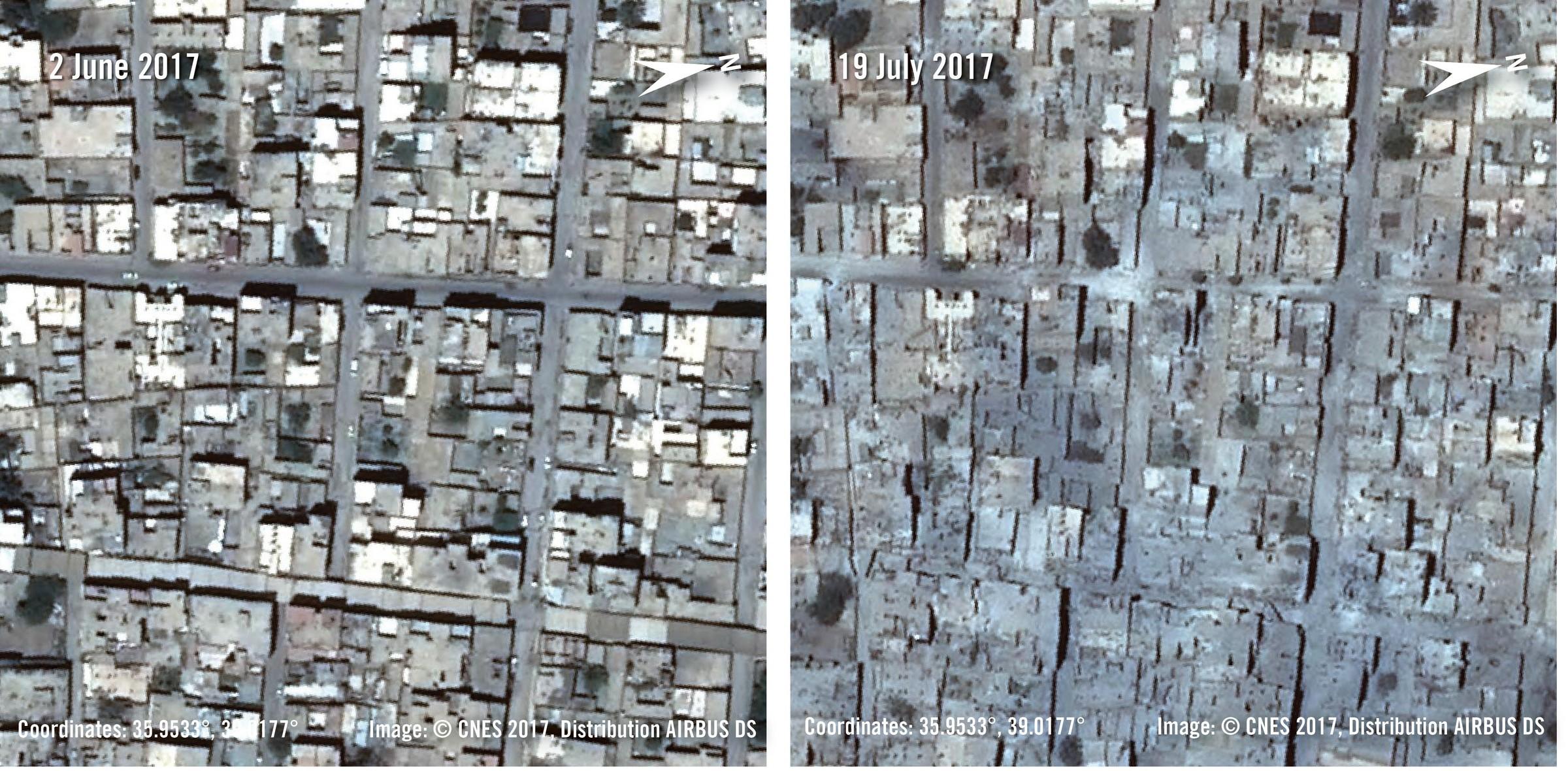 Prima e dopo l'inizio della battaglia in un altro quartiere di Raqqa (Amnesty International)