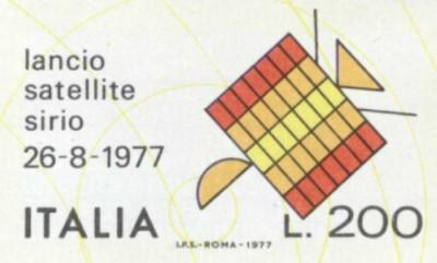 Il francobollo celebrativo per la missione del satellite Sirio