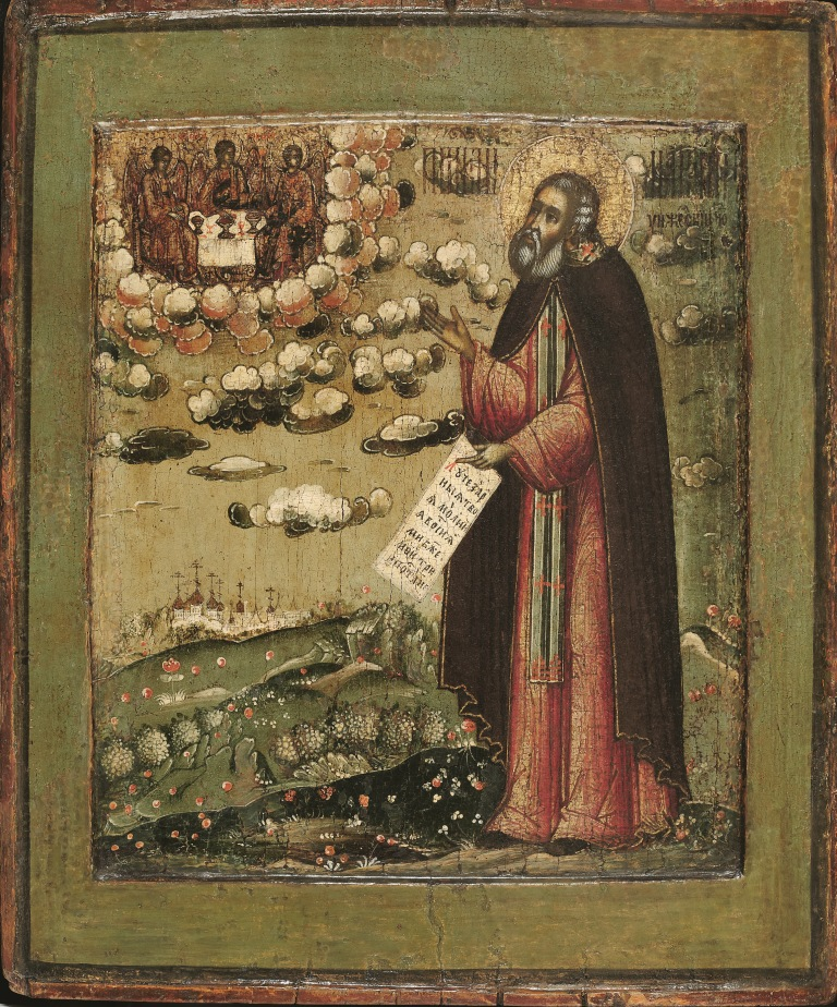 'Venerato Makarij di Unza con veduta del Monastero della Trinità' (fine del XVII secolo)