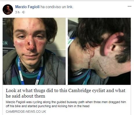 Il post su Facebook di Marzio Fagioli