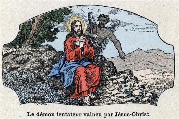 Le Tentazioni di Cristo nel deserto in una stampa parigina colorata del XIX secolo