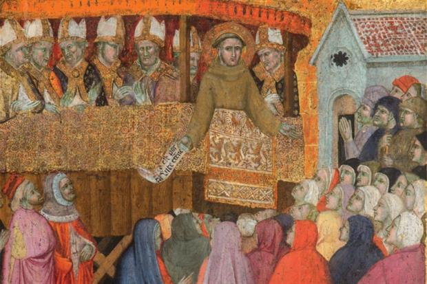 La pala con l'annuncio del Perdono di Assisi da parte di san Francesco