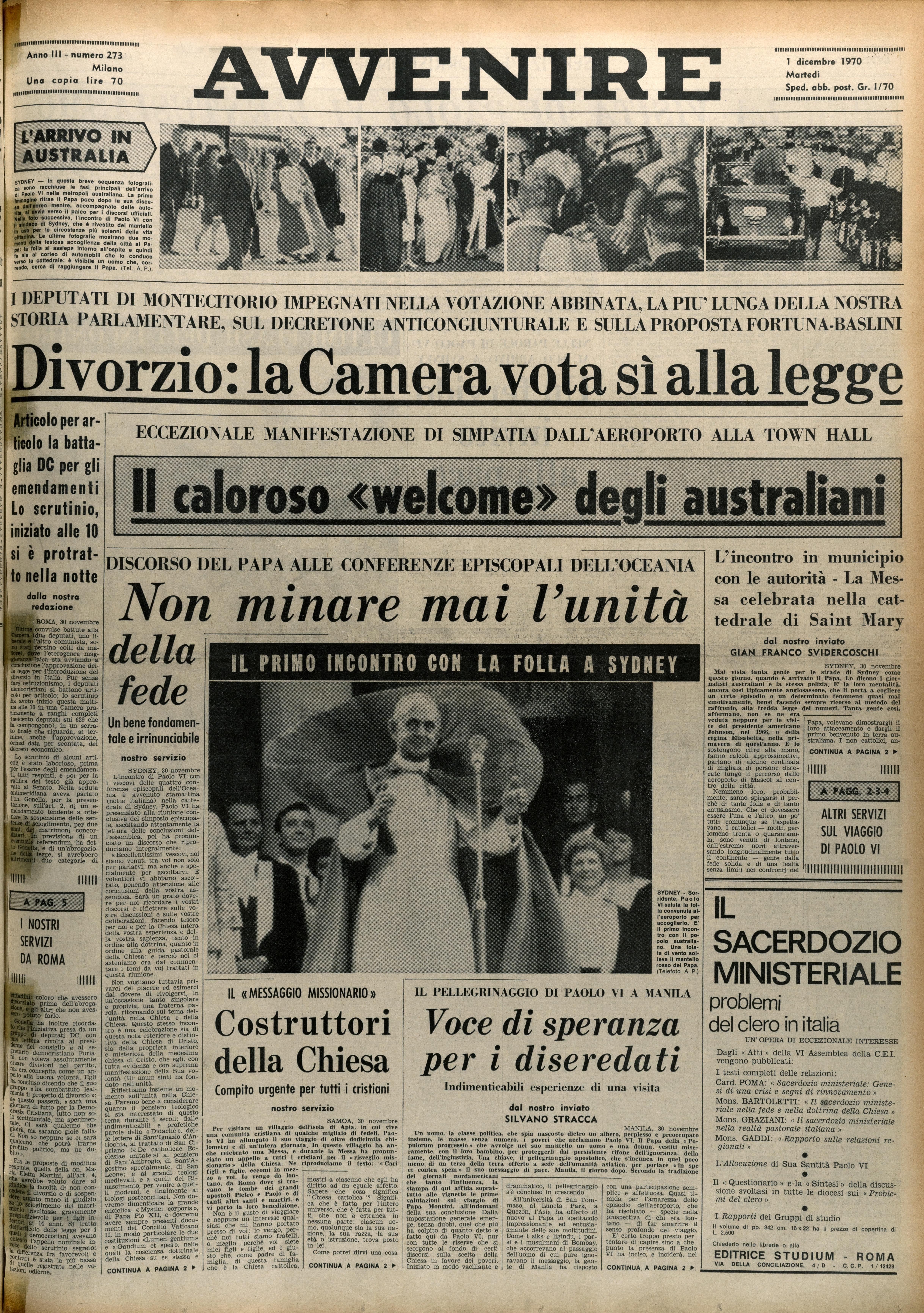 La prima pagina di Avvenire del 1 dicembre 1970
