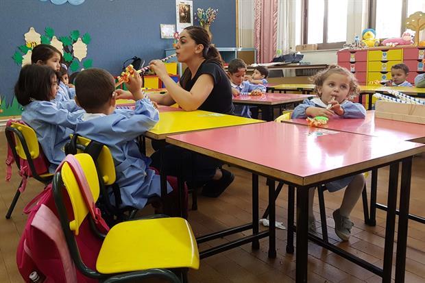 Una classe dell'asilo nell'istituto Effetà a Betlemme (foto Giacomo Gambassi)