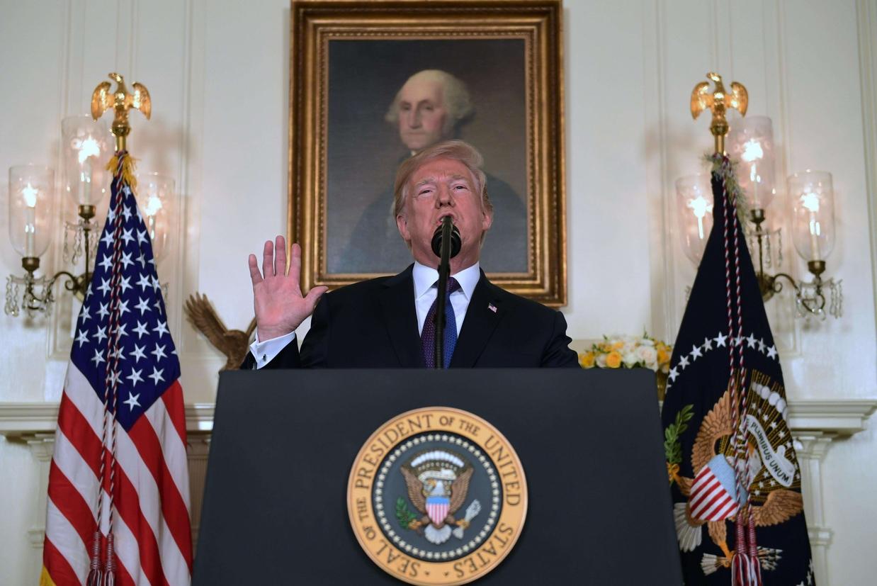 Il presidente americano Trump ha annunciato l'attacco, venerdì alle 21 locali, parlando in diretta tv dalla Casa Bianca (Ansa)