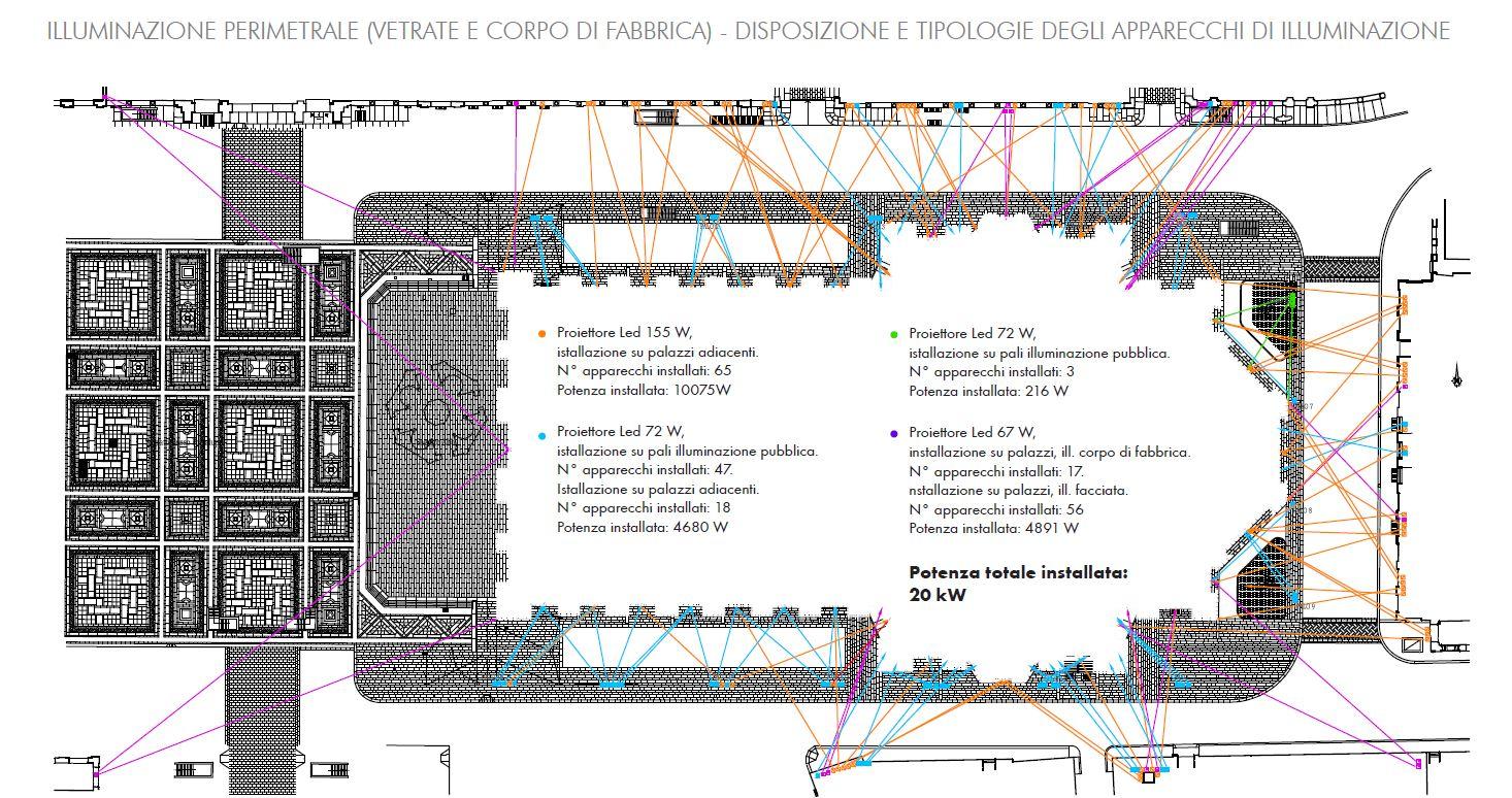 Un dettaglio del progetto di illuminazione perimetrale