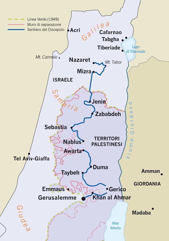 Cartina Geografica Della Palestina Di Oggi.A Piedi Da Nazareth A Gerusalemme Pellegrini Sui Passi Di Gesu