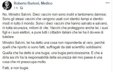 Il post Fb del virologo Burioni