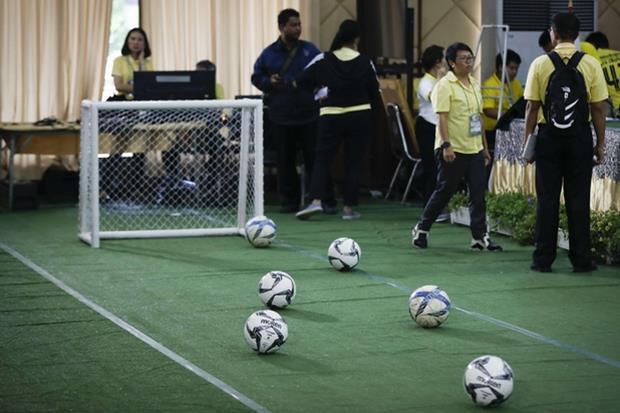 Il mini campetto di calcio realizzato all'ospedale dove sono stati ricoverati i 'cinghialotti', mostrato alla conferenza stampa (Ansa)