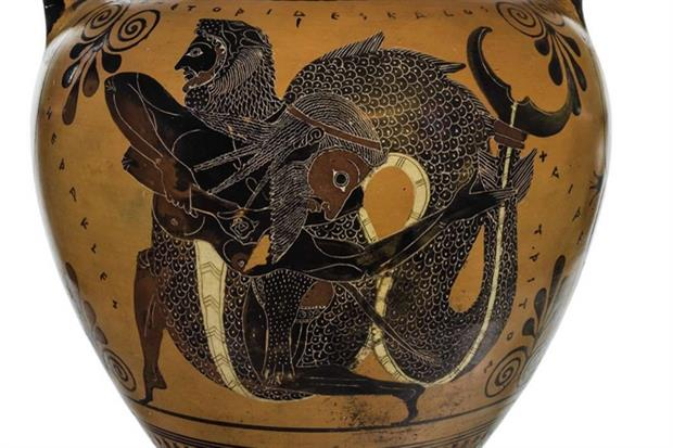 Anfora con Eracle e Tritone (IV secolo a.C.)