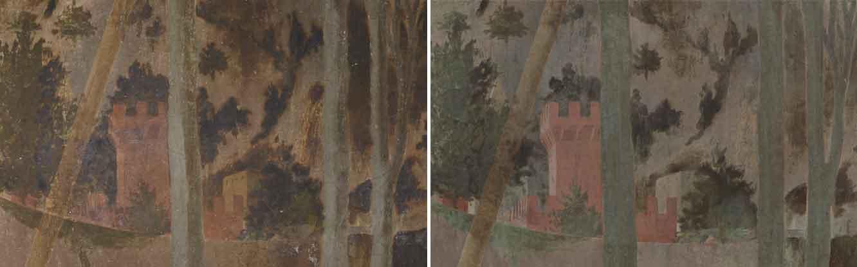 Un particolare del paesaggio nella Resurrezione di Piero della Francesca a Sansepolcro prima e dopo il restauro