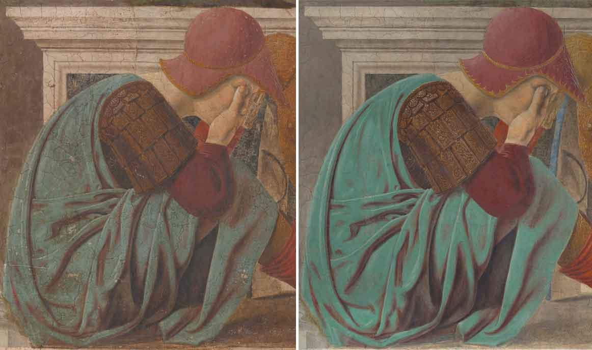 Il particolare di un soldato nella Resurrezione di Piero della Francesca a Sansepolcro prima e dopo il restauro