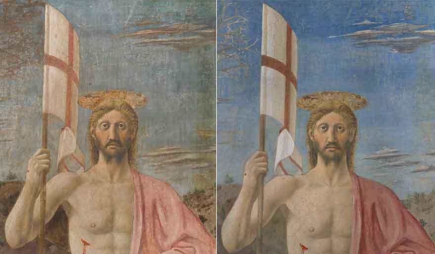 Il particolare di Cristo nella Resurrezione di Piero della Francesca a Sansepolcro prima e dopo il restauro