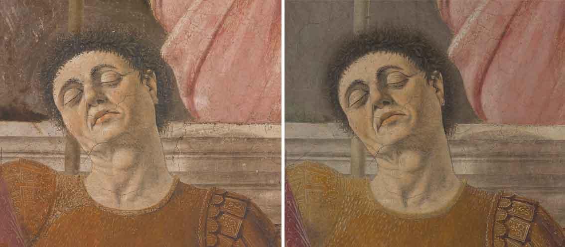 Il presunto autoritratto di Piero della Francesca nella Resurrezione di Sansepolcro, prima e dopo il restauro
