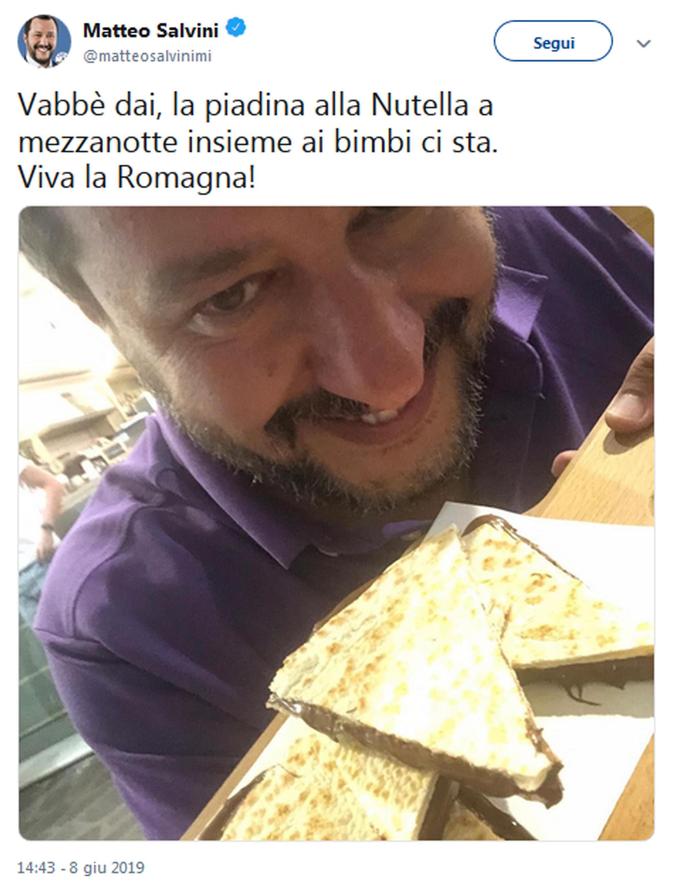 Quando Matteo Salvini amava e promuoveva la Nutella su Twitter (Ansa)