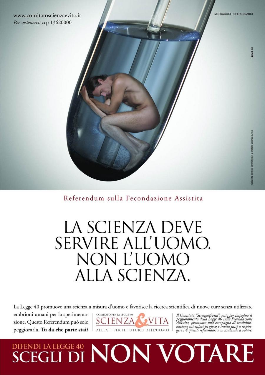 La pubblicità di Scienza & Vita del 2005