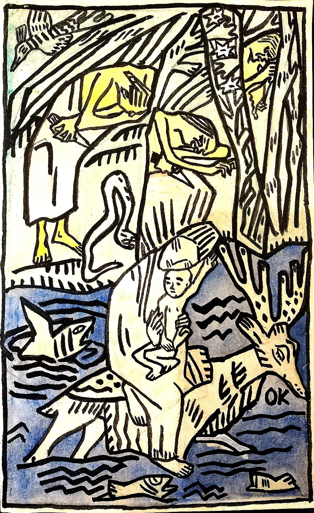 """Oskar Kokoschka, """"Madre e figlio attraversano il fiume"""" (1908, litografia)"""