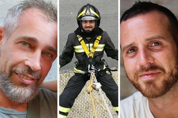Le tre vittime dell'esplosione: Matteo Gastaldo, Antonio Candido e Marco Triches (Ansa)