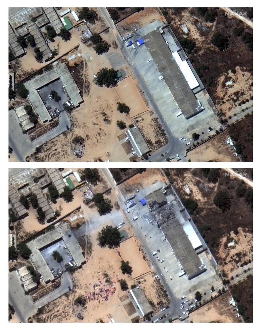Una immagine satellitare fornito da Maxar Technologies mostra il prima (sopra) e il dopo il bombardamento (AP)