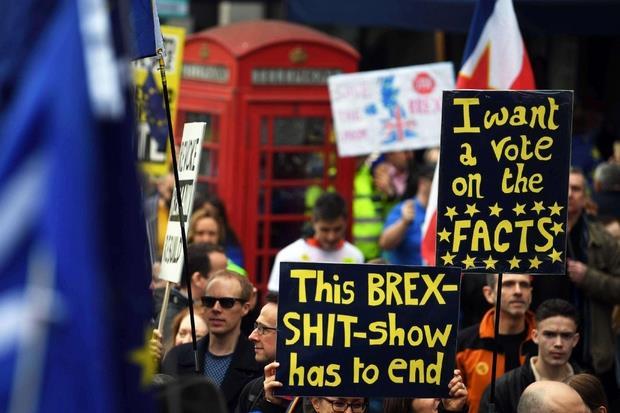 Si sono viste tantissime bandiere dell'UE, e cartelli e immagini satiriche contro la prima ministra Theresa May e il partito Conservatore.