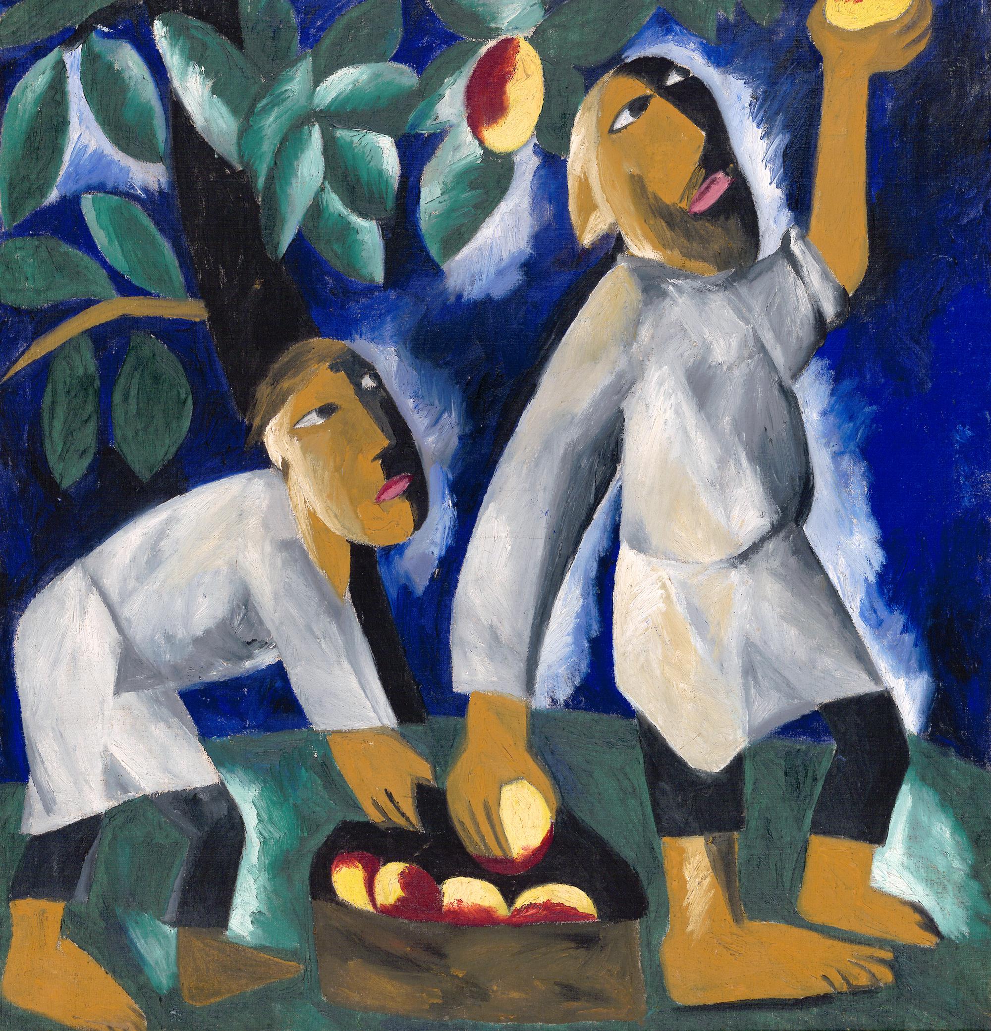 Natalia Goncharova, «Contadini che raccolgono le mele» (1911)