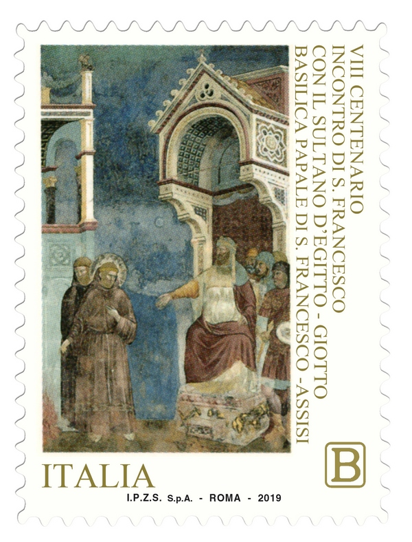Il francobollo per gli 800 anni dell'incontro fra san Francesco e il sultano d'Egitto