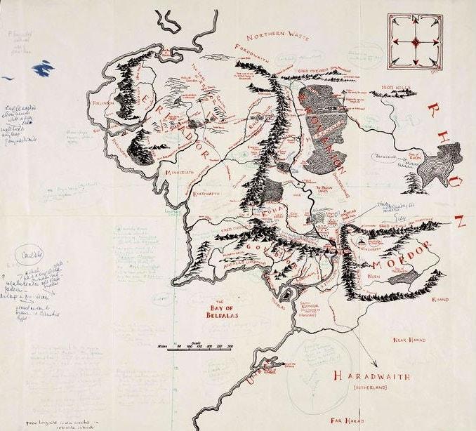 Mappa della Terra di Mezzo annotata da J.R.R Tolkien nel 1969 e disegnata dal figlio Christopher