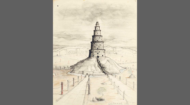 J.R.R Tolkien, 'Orthanc I', disegno di torre della fortezza di Isengard (1942)