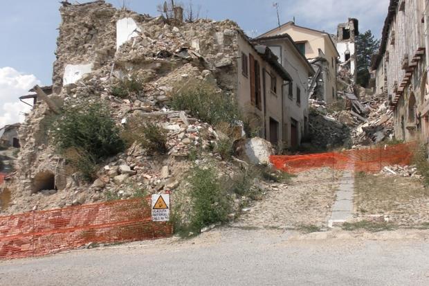 Le macerie ad Accumoli (Rieti)