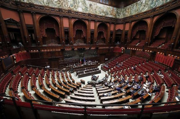 L'Aula della Camera con i banchi dell'opposizione vuoti durante la discussione generale sul ddl costituzionale per il taglio dei parlamentari, Roma, 7 ottobre 2019. ANSA' RICCARDO ANTIMIANI
