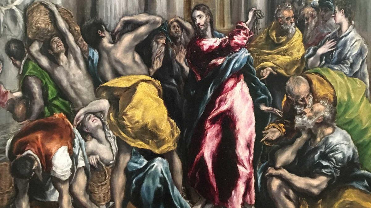 El Greco, «Cristo caccia i mercanti dal tempio» (1610-1614, particolare)