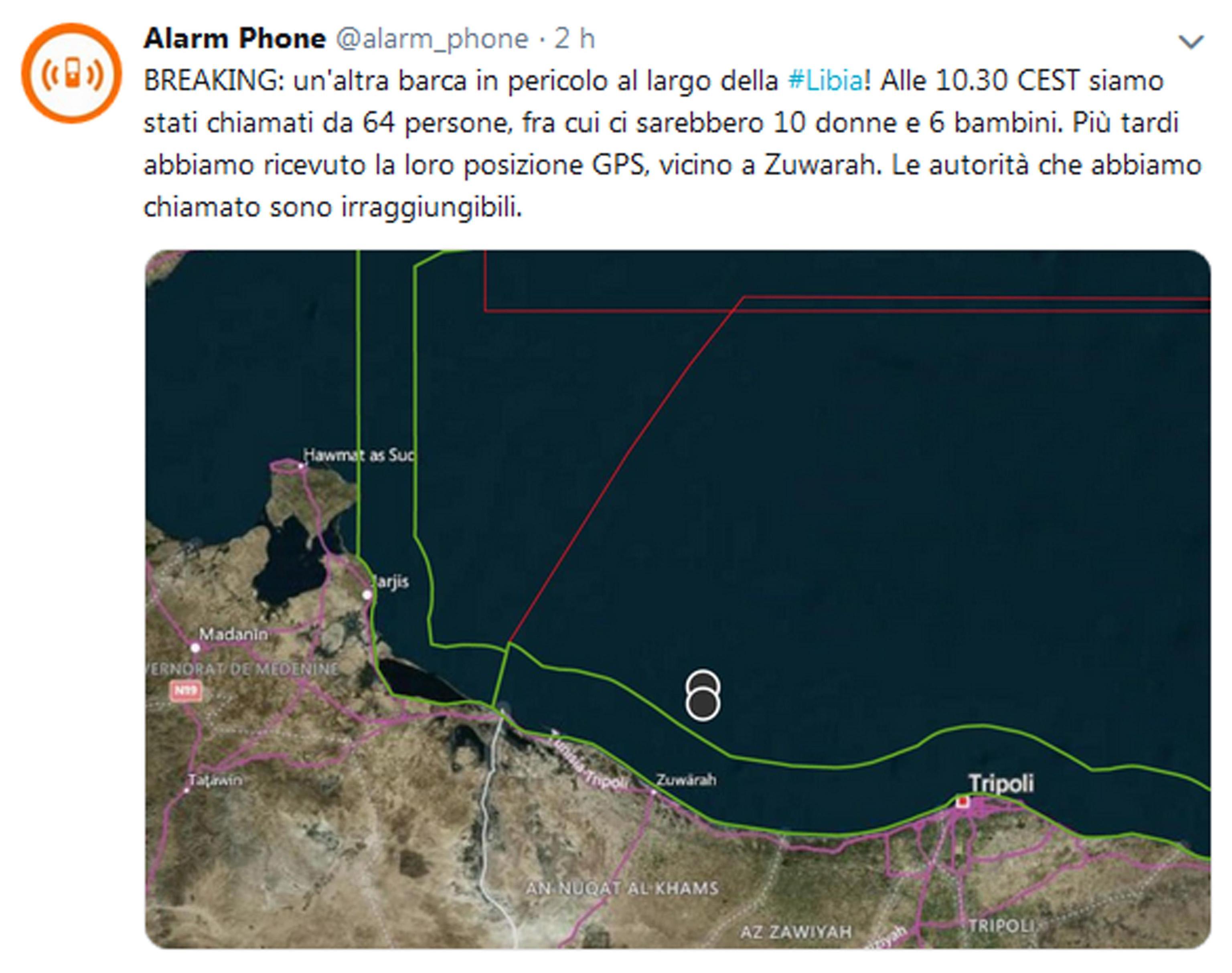 Il tweet di Alarm Phone: la Guardia costiera libica si è resa irreperibile. Anche perché in Libia è di nuovo guerra (via Ansa)