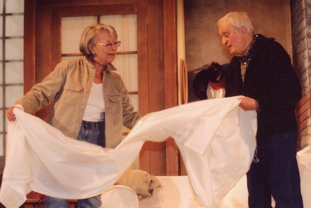 """Isa Barzizza con Nando Gazzolo in una scena dello spettacolo teatrale """"Sul lago dorato"""""""