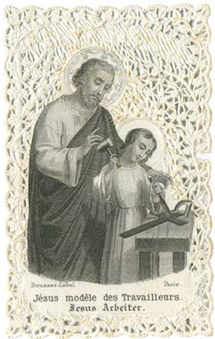 """""""Gesù lavoratore"""", siderografia con fondo traforato a merletto con motivi floreali, Francia"""