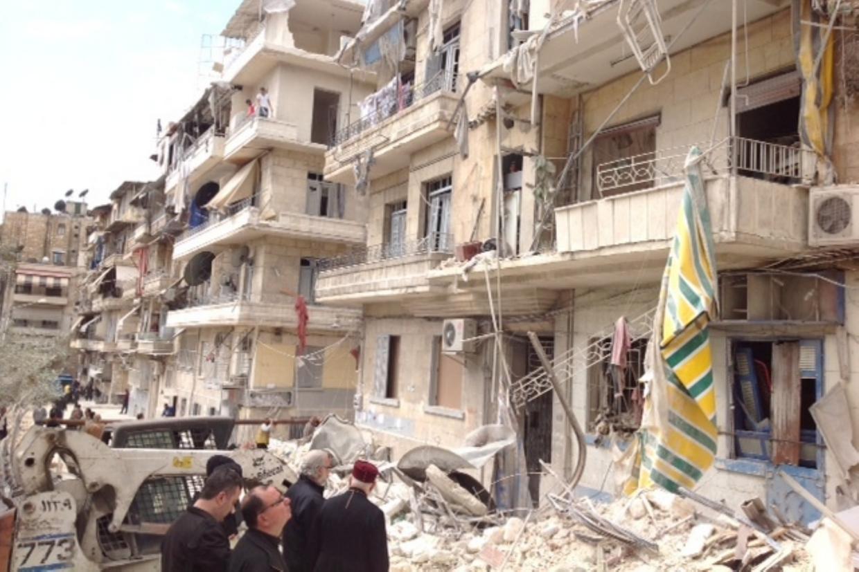 Fra le macerie del quartiere cristiano di Aleppo in Siria