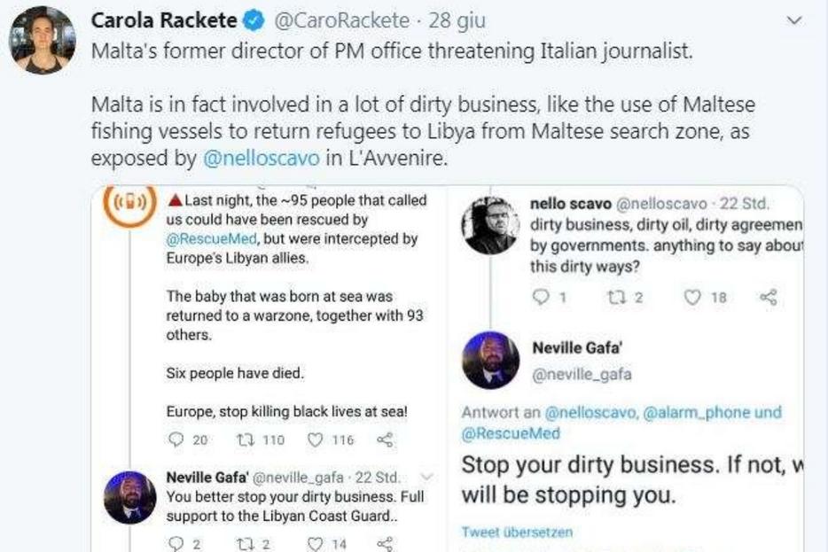 Il tweet di Carola Rackete in solidarietà a Nello Scavo