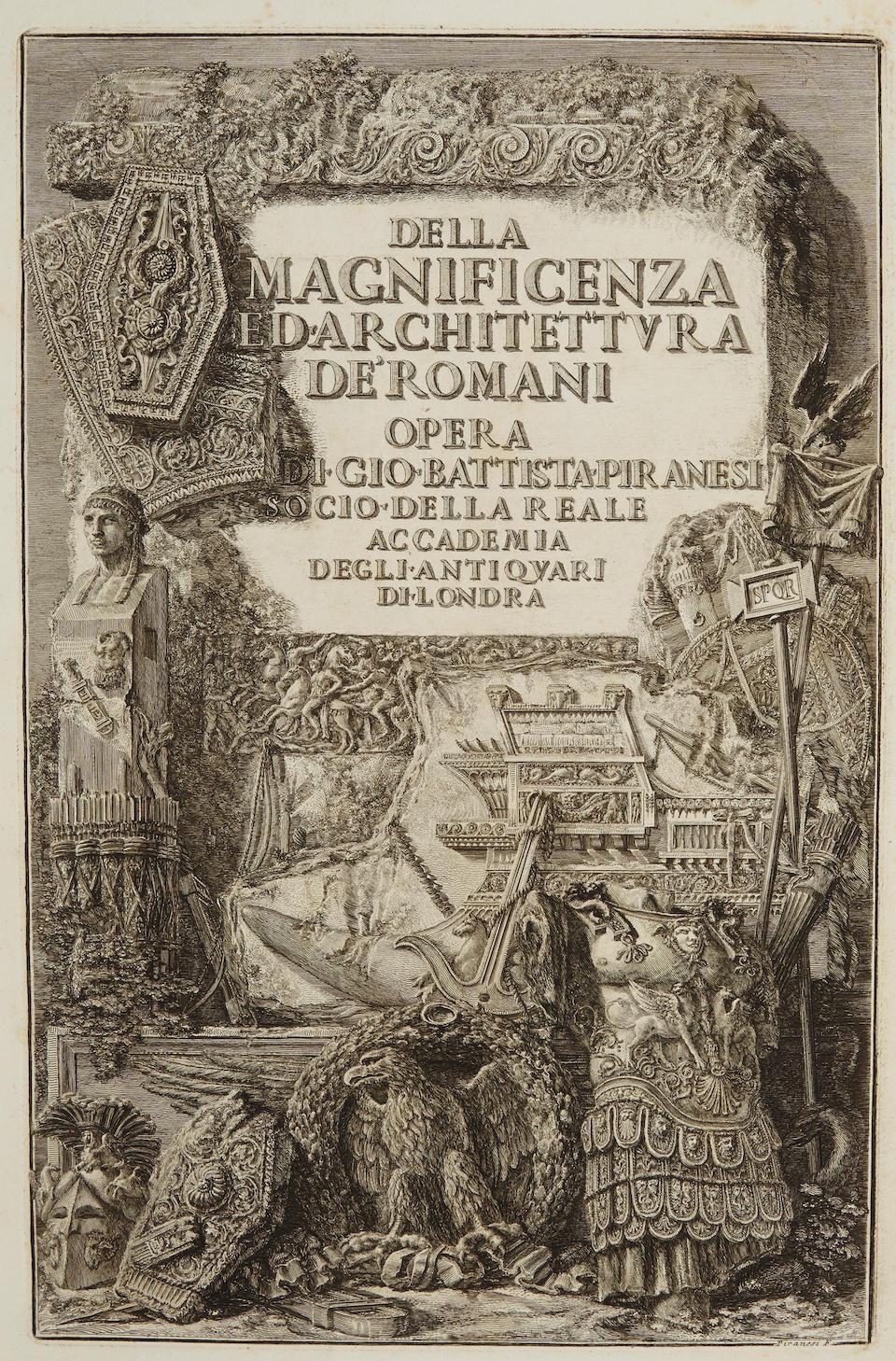 """Giambattista Piranesi, Ftrontespizio """"Della Magnificenza ed architettura dei Romani"""""""