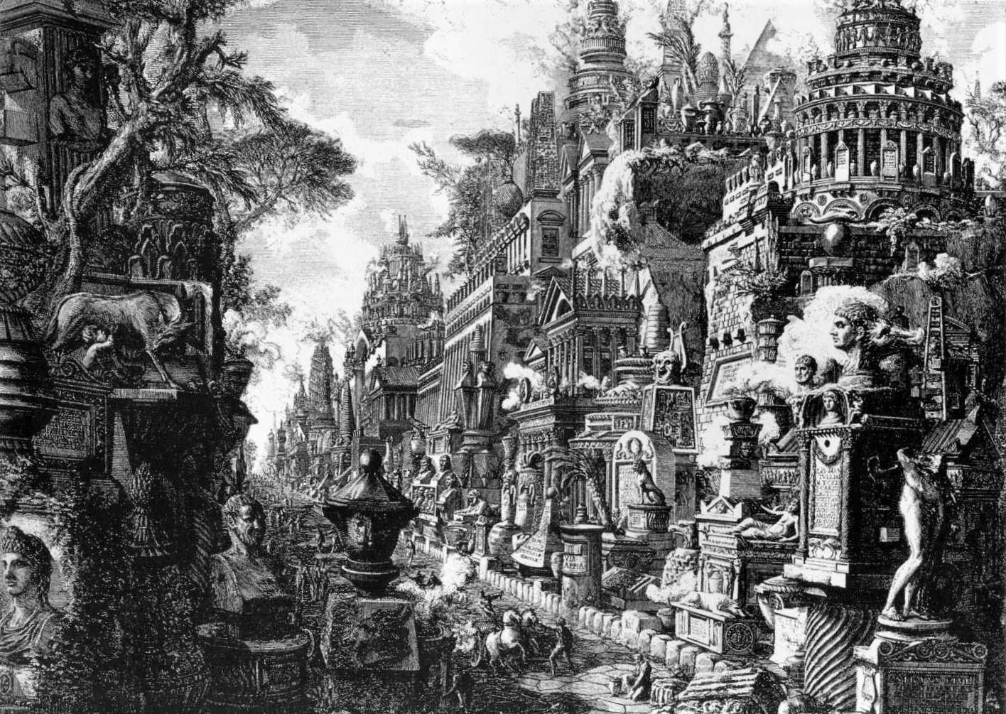 """Una prospettiva della Via Appia a Roma in una stampa di Giambattista Piranesi dalle """"Antichità Romane"""""""