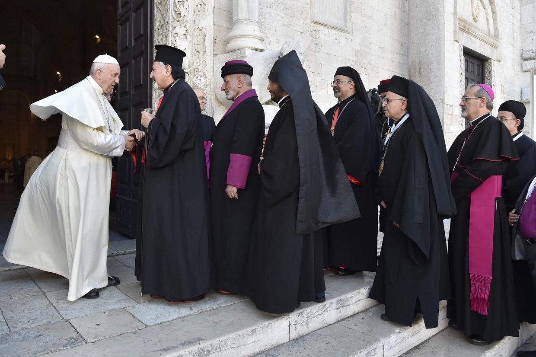 Papa Francesco a Bari il 7 luglio 2018 con i capi delle Chiese del Medio Oriente
