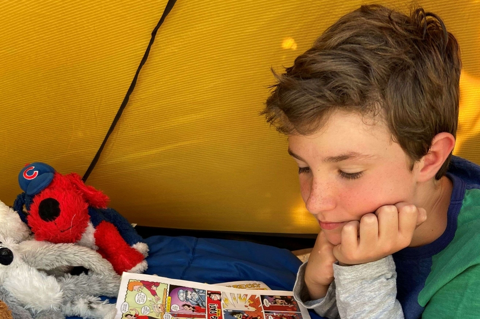 Max Woosey nella tenda